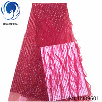 Beautifical nigerian lace fabrics 2019 New Fashion 3d villose french lace fabric for wedding 5yards net lace sequins ML1N896