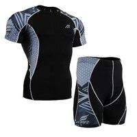 Estate degli uomini MMA Formazione Che Coprono L'insieme di Compressione Tee Shirt & Shorts Indumenti Quick Dry Traspirante Vestiti di Fitness Crossfit Gym