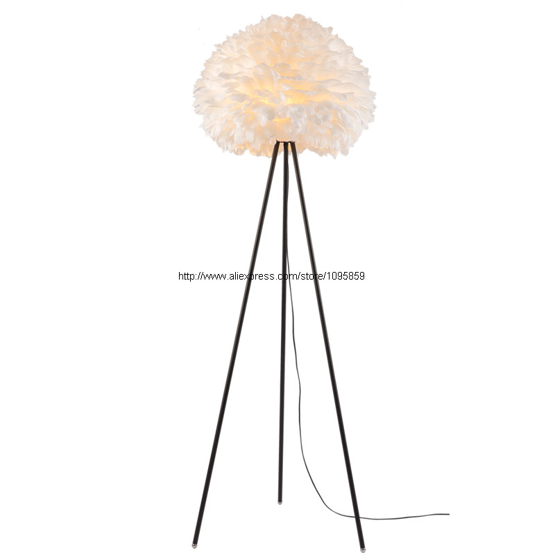 Modern Floor Lamp Feathers White Lampshade Tripod Floor Lamps For Living Room