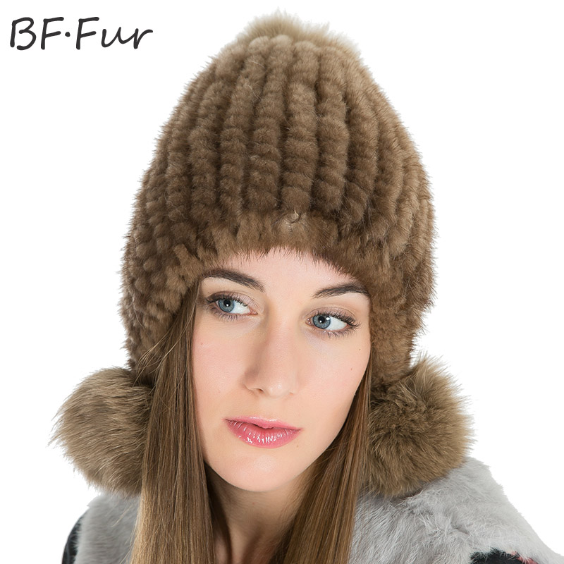 Natural White Real Mink Fur Beanies Hats Women's Knitted Cotton Warm Animal Pompom Solid Color Adult Bonnet Skullies Female Caps russian real mink fur hat for female animal fur winter warm beanies fashion solid color cap natural color bonnet girls hats