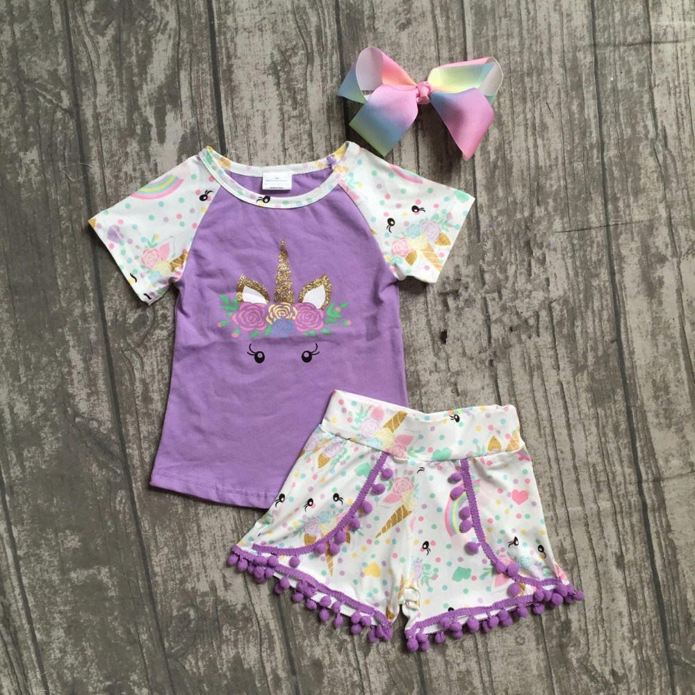baby girls summer clothes children girls unicorn boutique outfits girls unicorn lavender top with unicorn shorts with match bow unicorn