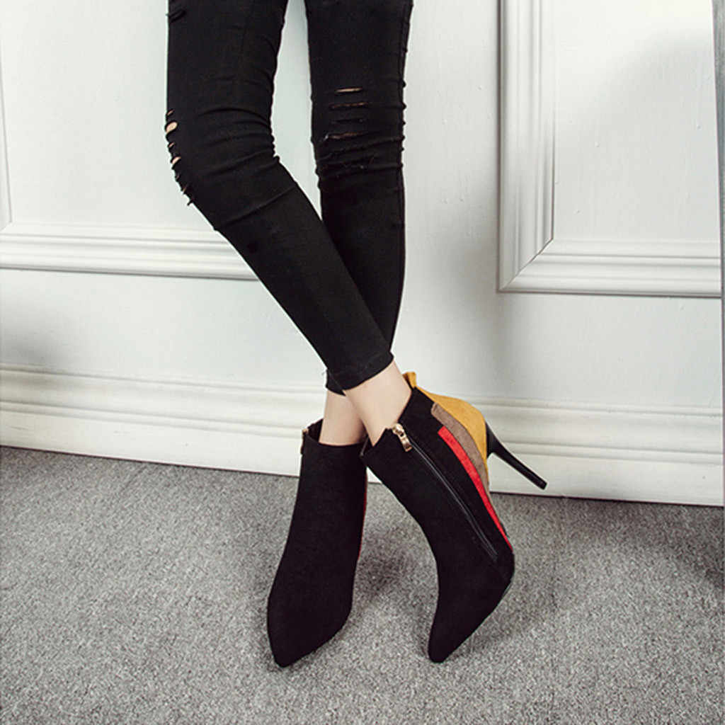 YOUYEDIAN women shoes boots  Mixed Colors Short Boots Thin Heels Pointed Toe Zipper Ankle Boots botas largas mujer invierno#G30