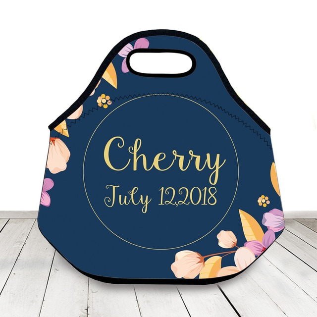 Blue Personalized Name Date Lunch Bag Custom Insulated Tote For Kids Women Neoprene