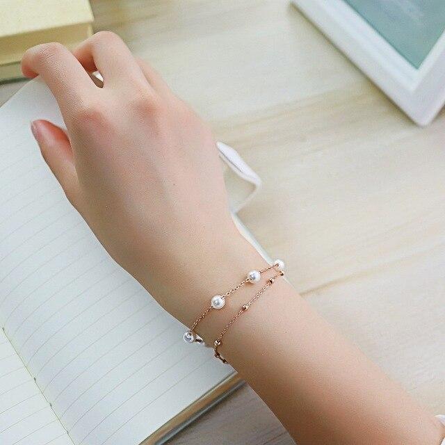 Купить женский браслет с искусственным жемчугом из нержавеющей стали картинки