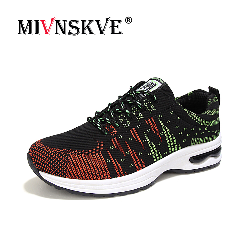 Mivnskve Hombre orange Dentelle Respirant Zapatillas Casual Red Confortable black Chaussures 2018 Hommes Up Coussin D'air Mocassins Maille Yb76gyf