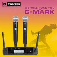 G MARK GLXD4 UHF Handheld Karaoke Microphone Wireless Professional System 2 Channel Frequency Adjustable Cordless For DJ Party