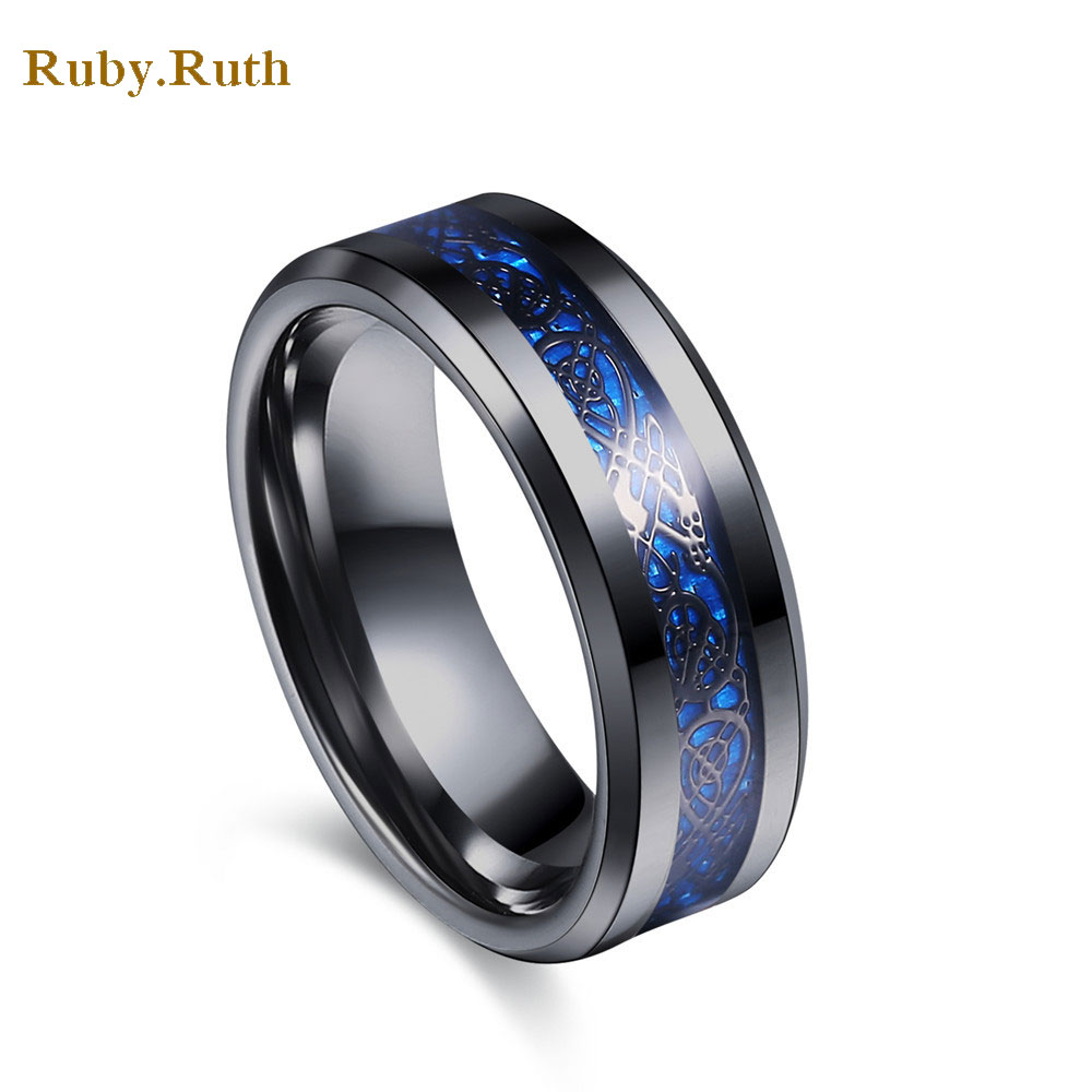 ộ_ộ ༽Carbon Fiber Dragon Ring Jewelry Men Titanium Steel Ring ...