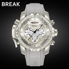 BREAK Unique Men Luxury Brand Casual Fashion Rubber Band Sport Wristwatches Man Quartz Chronograph Army Waterproof