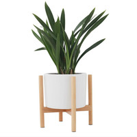 Indoor Wood Plant Flower Pot Planter Stand Assembly Beech Holder Wooden Floor Potted Rack for Home Office Decor