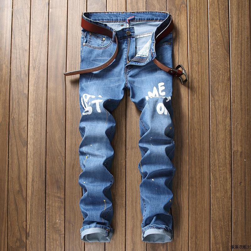 New Biker Jeans Men Casual Slim Fit Ripped Straight Painted Jeans Designer Retro Pants Mens Ink Printing Trousers Letter Jean 2016 new mix brand slim straight jeans men skinny wash retro old ripped jeans mens casual denim trousers biker jeans mens zipper