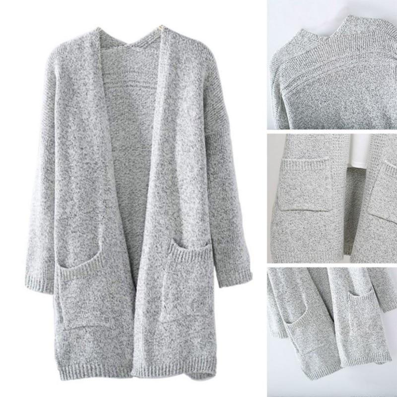 Women Knitted Sweater Coat Long Sleeve Cardigans Casual Loose Jacket Outwear