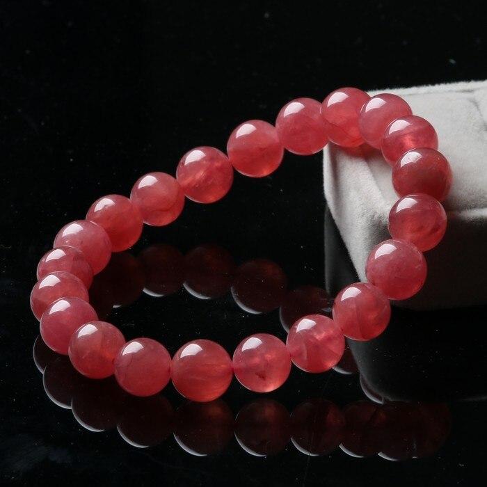 Genuine Argentina Ice Rhodochrosite Gems Natural Stone Women Femme Charm Love Round Beads Bracelet 9mm