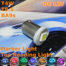 12 V LED Weiße Farbe Auto Birne Lampe T4W T8.5 BA9S (1*5050 SMD Lampe) für Marker Side Door Trunk-Boot Lizenz Licht Bord(China)