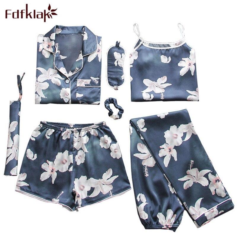 Fdfklak Home Clothes 7 Pieces Silk Floral Pyjamas Pijamas Women Clothes Sleepwear Pajamas Set Womens Lounge Wear Lingerie Femme