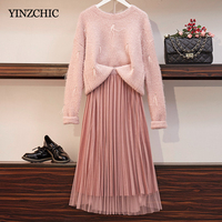 New Woman Autumn Two pieces Sets Loose Sweater Reversible Skirt Suit for Elegant Lady Female Casual Pink Sets
