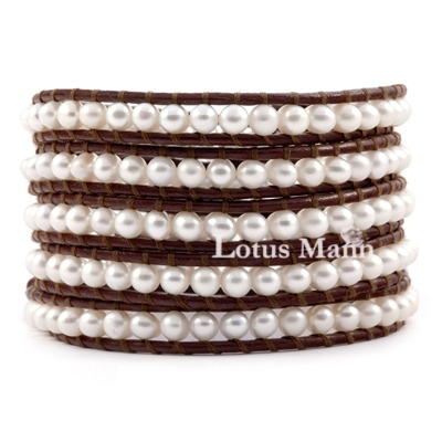 Natural freshwater pearl brown leather 5 wraps knitted bracelet LOTTE