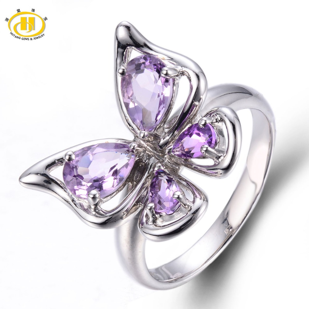Hutang Classic Natural Amethyst Butterfly Ring Solid 925 Sterling Silver Purple Gemstones Fine Jewelry Summer Style Women Rings