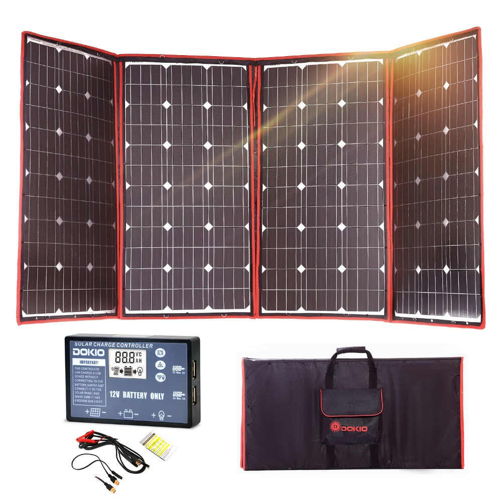 Dokio 300W 12V Flexible Solar Panel Outdoor Foldable Solar panel For Camping Boat RV Travel Car Solar panel kits For Home in Solar Cells from Consumer Electronics