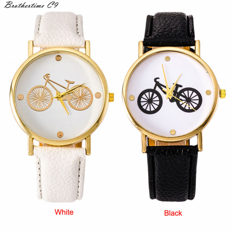 Brothertime C9 New Arrival Cute Ladies Casual font b Watch b font Cartoon Bicycle Belt Pattern