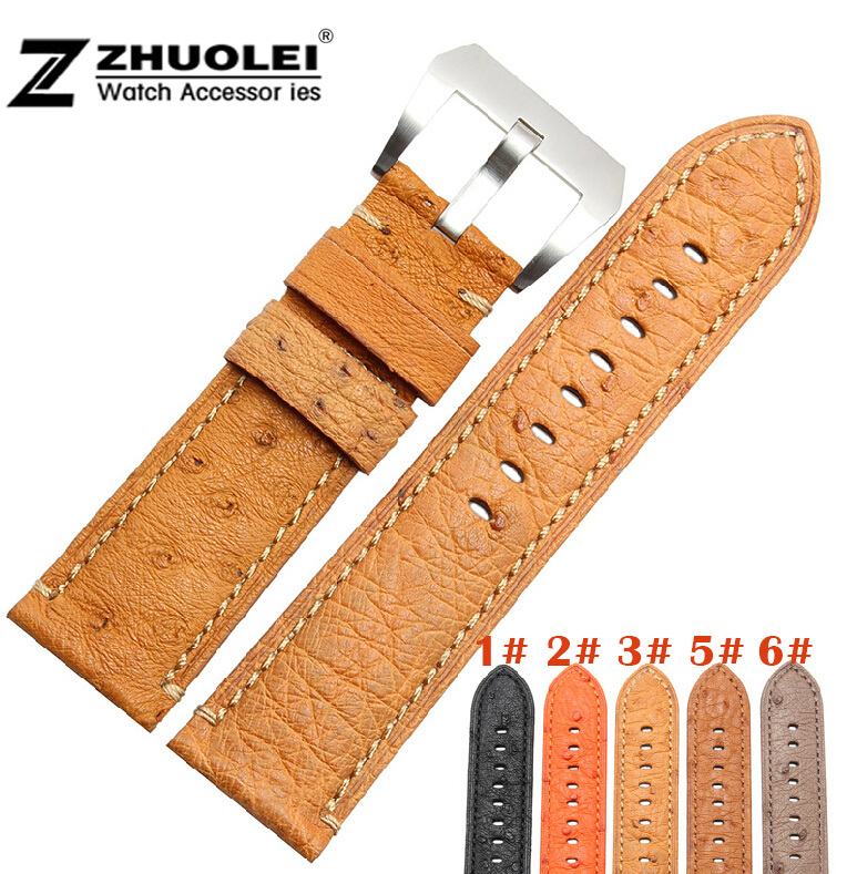 New Arrival 24mm Orange Genuine Real Ostrich Skin Leather Watch Band Strap Bracelets For Men`s Wristwatch все цены