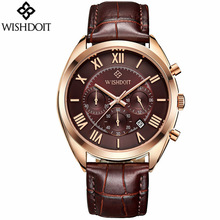 2018 New Mens Business Fashion Quartz Watch Top Brand WISHDOIT Leather Men Sports Watches Casual Military Rose Gold Male Clock