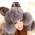 2016 Autumn and winter freeshipping Wool knitted fashion cat design artificial fur cap only Women fashion accessories