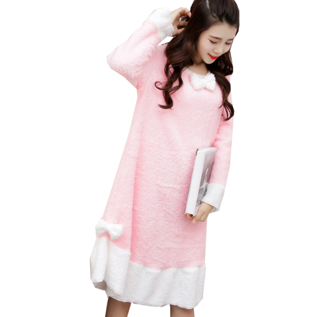 Casual Polar Fleece Loungewear Flouncing Hem Night Gown Round Neck Long Sleeve Sleepwear Night Dress Patch Bow-Knot Pyjamas