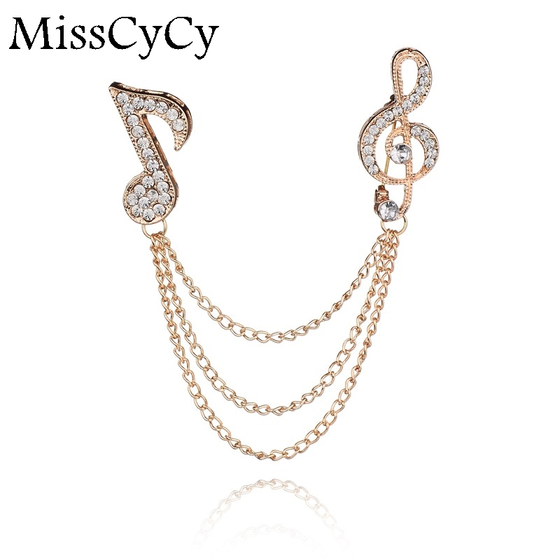 MissCyCy Vintage Personalized Gold Crystal Music Note Collar Pin Brooches For Women Neck Tip Accessaries