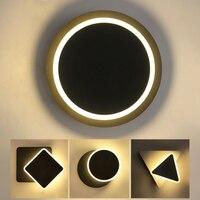침실 거실에 대 한 벽 램프 실내 rotatable 도금 된 금속 led 벽 램프 화이트 블랙 바디 스퀘어 라운드 triangl AC90-260V