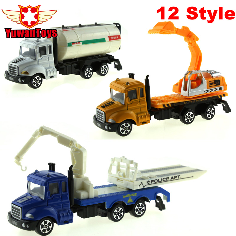12 Style METAL Bil Diecast Cars Legetøj Legering Legetøj Bilmodeller Collectible Skin City Bulldozers Traktor Modeller Truck Legetøj For Kids