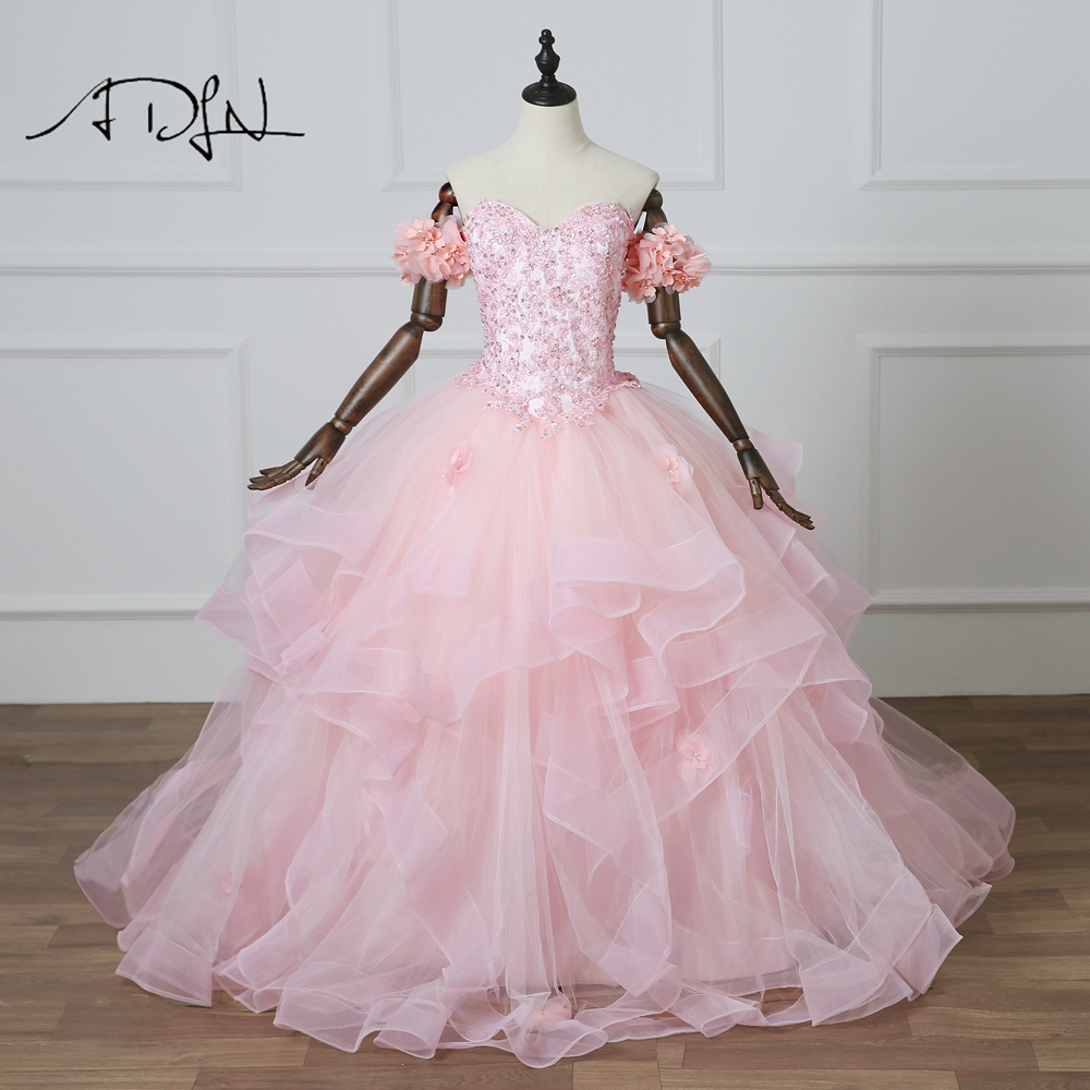ADLN  New Vestidos De 15 Anos Pink Quinceanera Dresses Ball Gowns Princess Custom Made Debutante Gowns with Floral