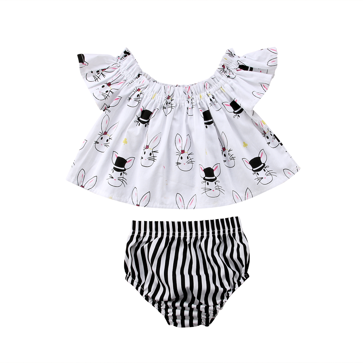 Cute Baby Girl Infant Toddled Clothes Set Off Shoulder Top Rabbit Print T-Shirt+Striped Shorts 2018 New Easter Summer Outfit