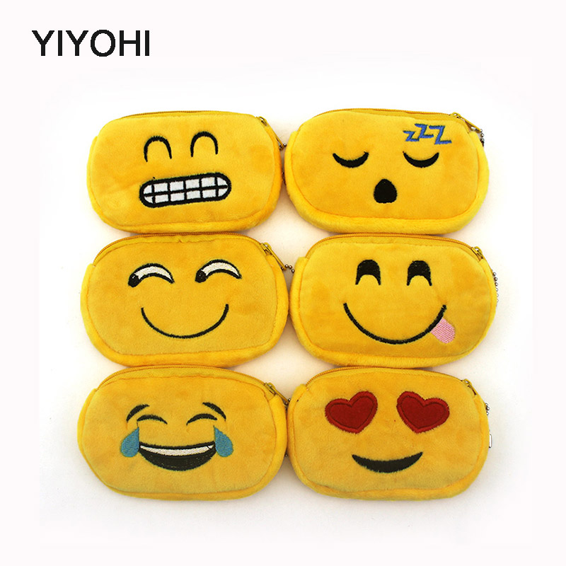 YIYOHI Hot Sale Cartoon Novelty Emoji Credit Card Bag Children Plush Coin Purse Zip Change Purse Wallet Kids Girl Women For Gift m215 cute cartoon pets akita dog siberian husky personality plush coin purse wallet girl women student gift wholesale