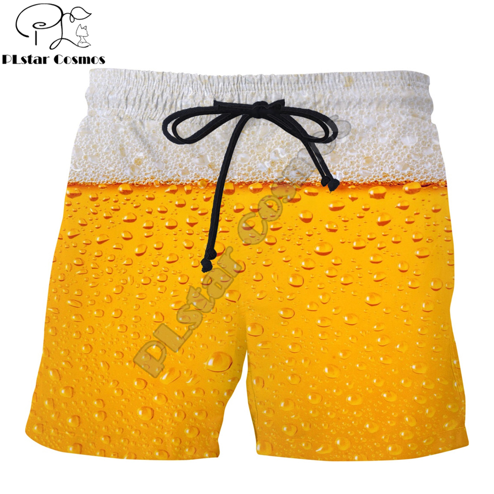 PLstar Cosmos Brand Clothing 2019 Summer Harajuku Men Casual Shorts Beer Bubble 3D Printed Male/Female Hipster Cool Shorts