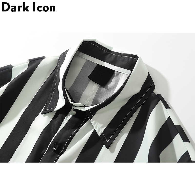 ダークアイコン黒白のストライプルーズシャツ男性長袖 2019 秋レトロスタイルカジュアルシャツストリートの服