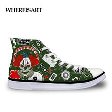 WHEREISART Men's Shoes Casual Shoes Hip Hop Clown Pattern Canvas Shoes Men Green Lace Up Breathable Sneakers For Teenage Boys(China)
