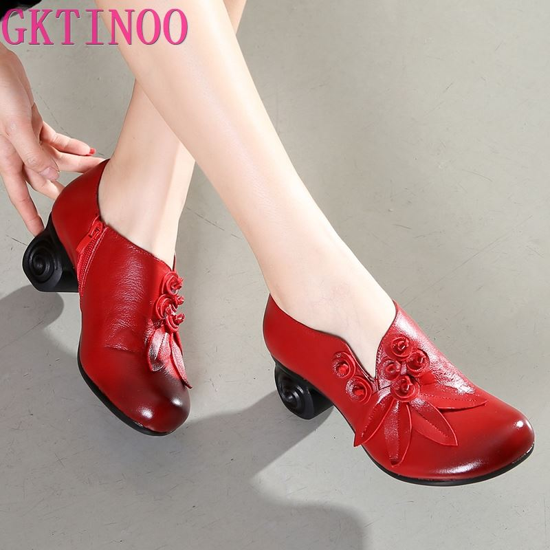 GKTINOO Flower Genuine Leather women pumps high heels shoes for women Female Soft Autumn Handmade office
