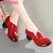 GKTINOO Flower Genuine Leather women pumps high heels shoes