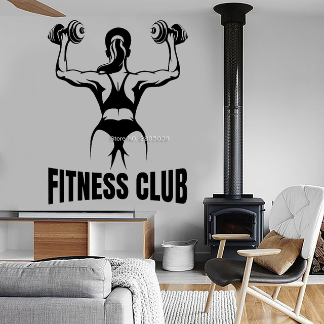 Female Fitness Club Wall Decals