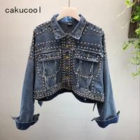 Cakucool Studded Rivet Denim Jacket Autumn Women Coats Black Blue Single Breasted 2018 Short Women's Jackets Coat Loose Crop Top
