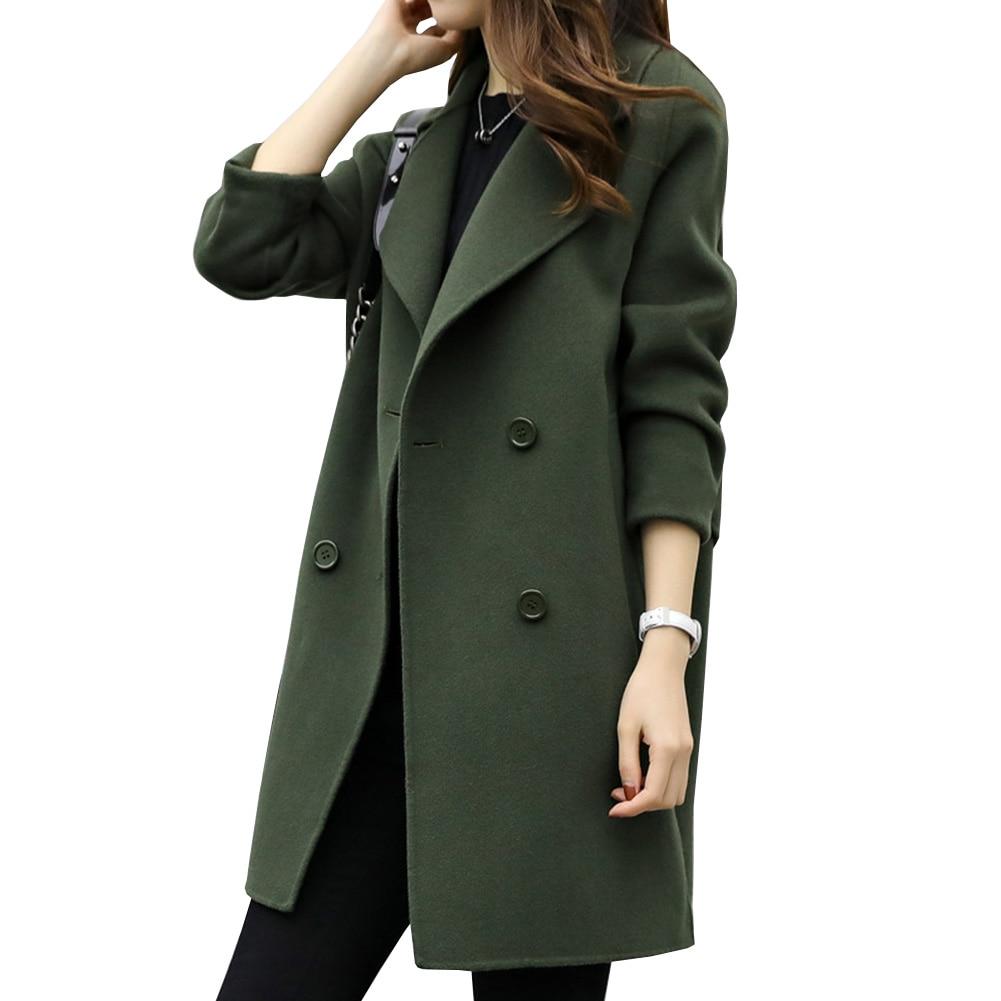 2018 г. модные зимние пальто Для женщин шерстяное Смешанное нагрудные двубортный плотная пальто с длинными рукавами для Для женщин ...
