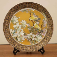Exquisite Chinese Handmade  Archaistic Famille Rose Porcelain Plate Painted With Double Rabbits and Flowers exquisite chinese antique imitation famille rose auspicious porcelain plate painted with peony and birds