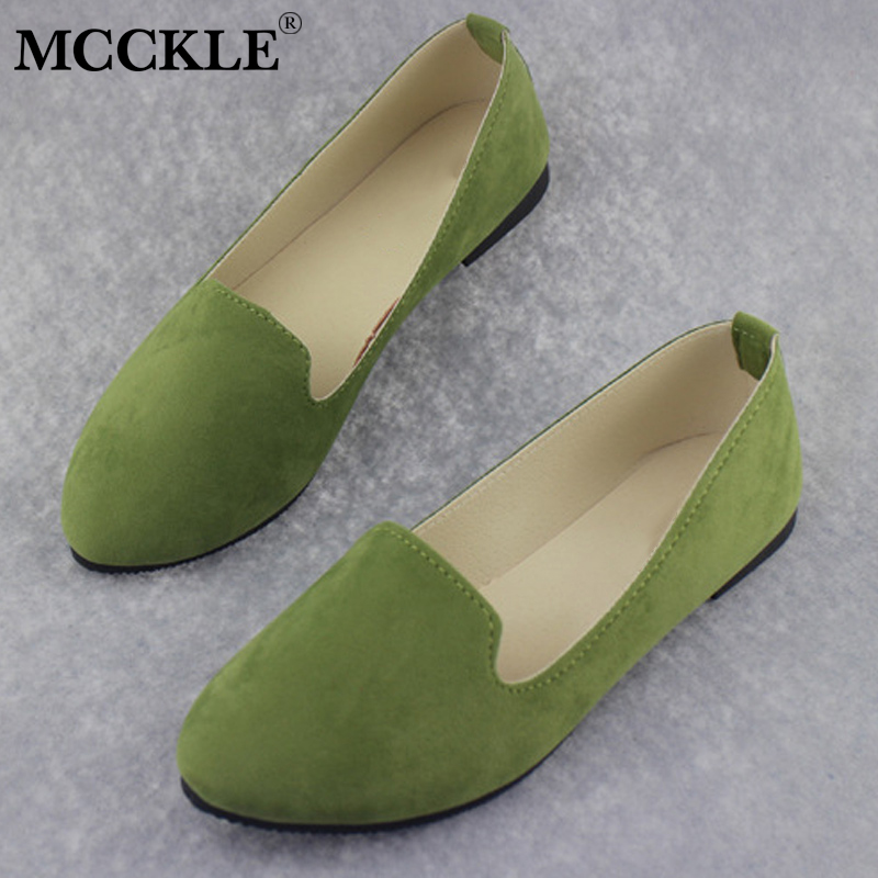 MCCKLE Autumn Casual Flat Women Loafers Plus Size Female Suede Shallow Slip On Candy Color Shoes Ladies Leisure Flats Footwear odetina 2017 new women pointed metal toe loafers women ballerina flats black ladies slip on flats plus size spring casual shoes