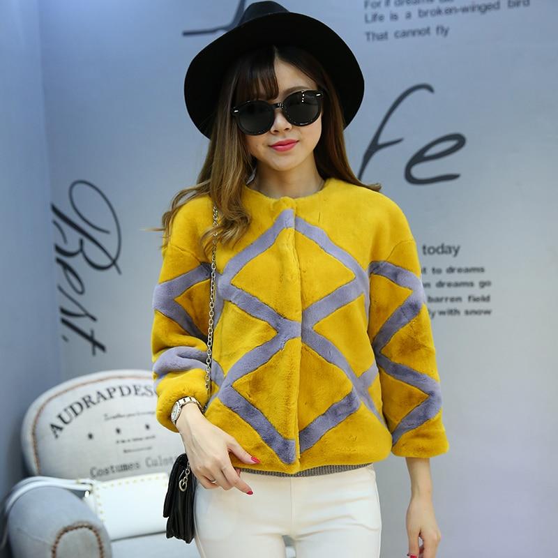 Women Stripe Three quarter sleeve O neck Fur Coat N22