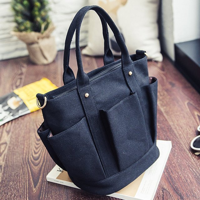 Fashionable Female Solid Color Handbags Women Casual Canvas Tote Bags Vintage Women Handbags Ladies Crossbody Bags