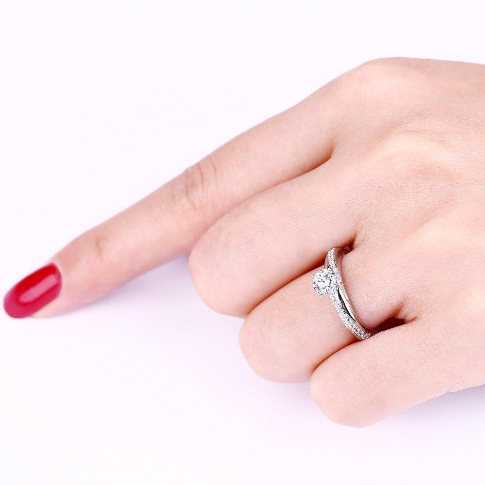 JO мудрость 14 К Gold 0,5 Ct натуральный Муассанит кольцо для любителя мода простой алмаз Обручение кольца 9K  10K  14 К