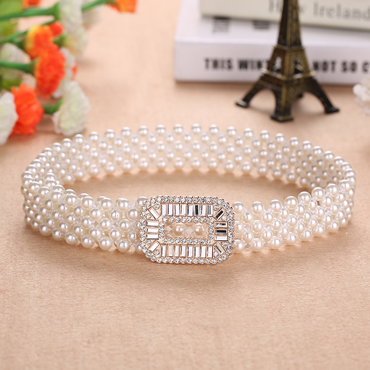 Elegant Women Pearl Waist Belt Elastic Buckle Pearl Chain Belt Female Girls Dress Crystal Strap Pearl Elastic Belt Luxury Brand