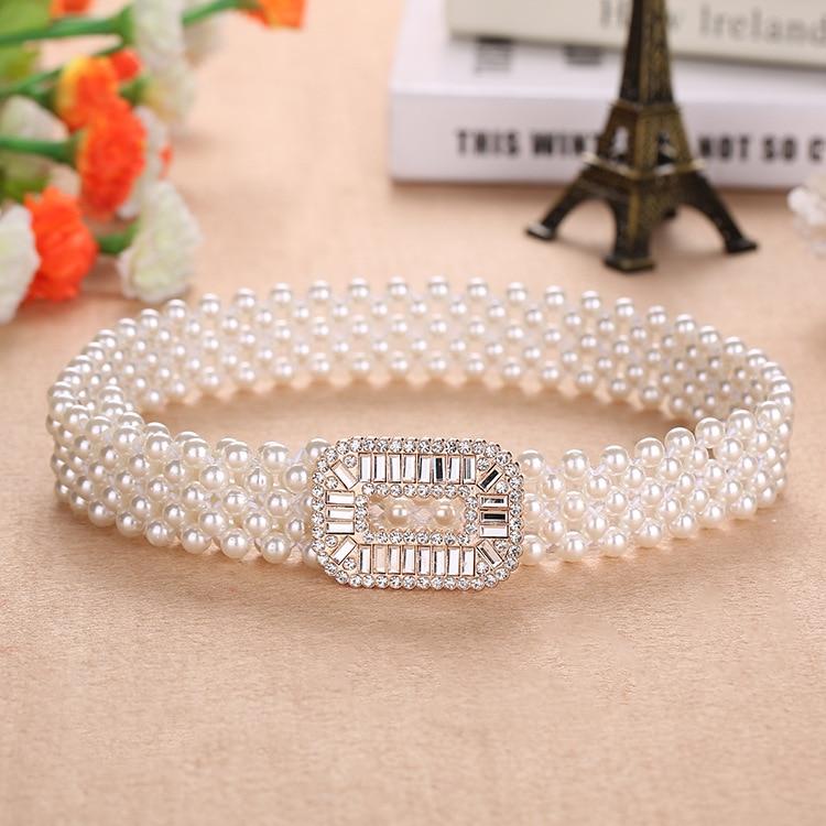Elegant Women Pearl Waist Belt Elastic Buckle Pearl Chain Belt Female Girls Dress Crystal Strap Pearl Elastic Belt Luxury Brand