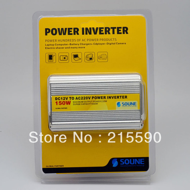 Wholesale 5PCS/Lot 150W Car Power Inverter 12VDC to AC 220V (12VDC to 110VAC is also available) with USB Car Power Adapter