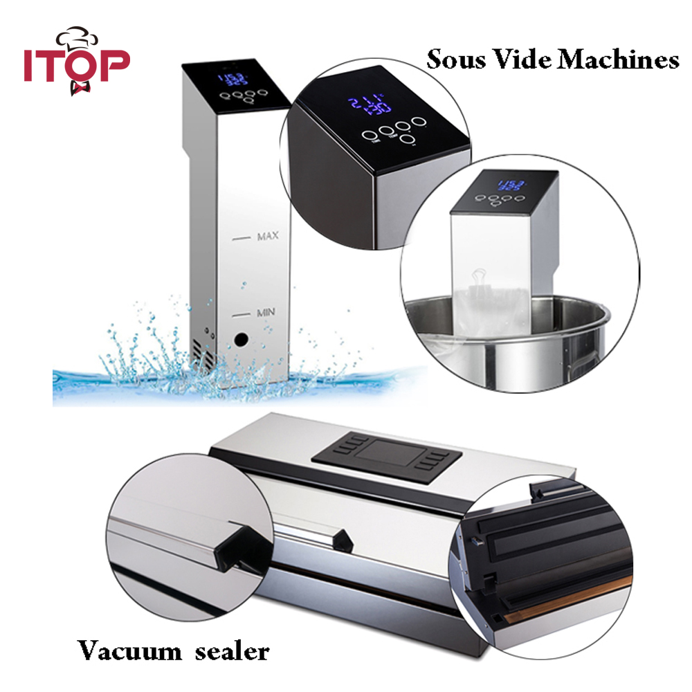 ITOP 2pcs Vacuum Sealer + Sous Vide Food Processors Immersion Cooker Vacuum Packing Machine Household EU/US Plug 110V/220V